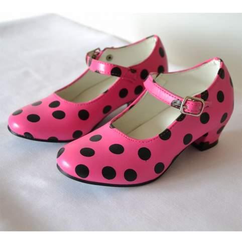 Zapatos sevillana o flamenca lunares fucsias