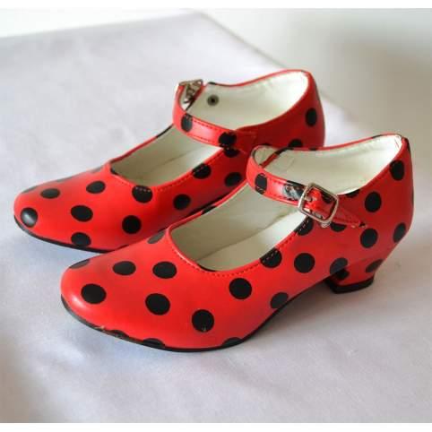 Zapatos sevillana o flamenca lunares rojos