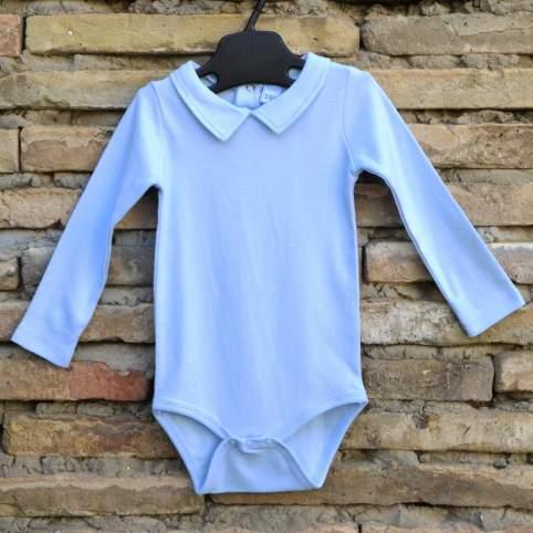 Body azul con cuello. 0 - 24 meses