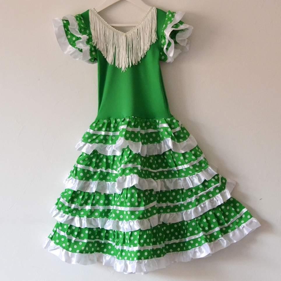 Vestido sevillana o flamenca verde