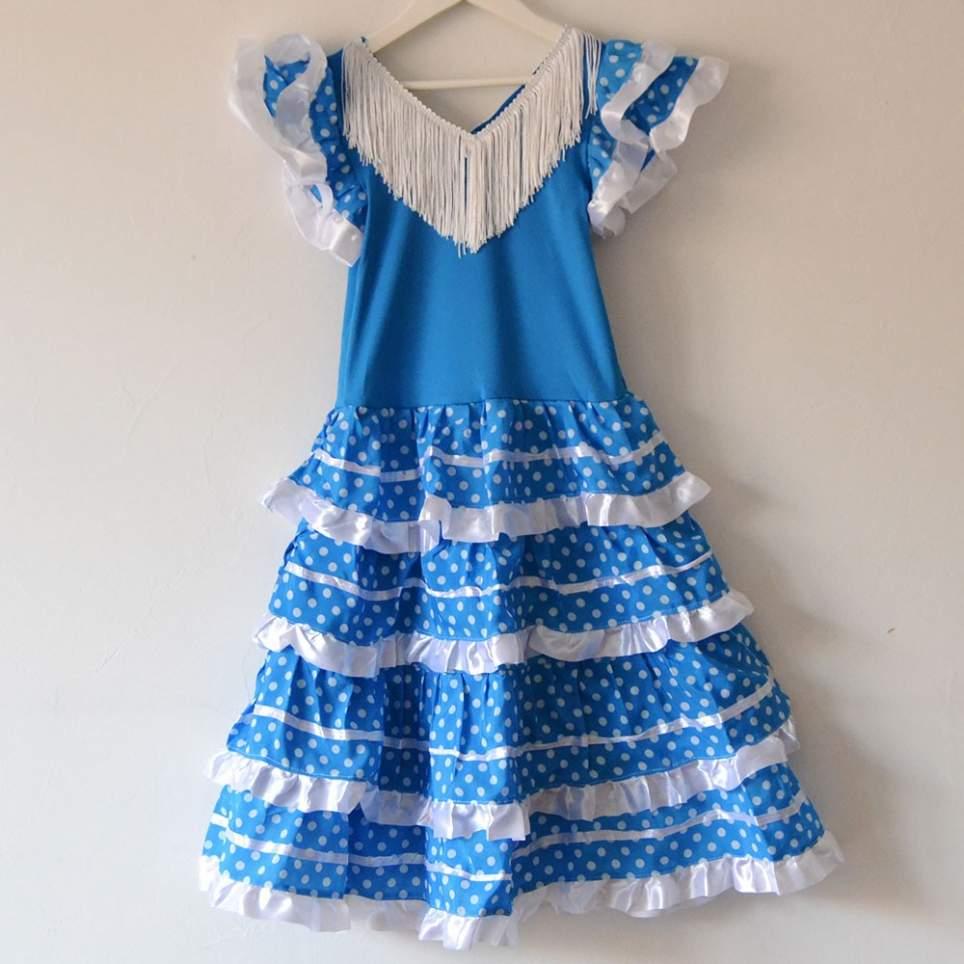 Vestido sevillana o flamenca azul
