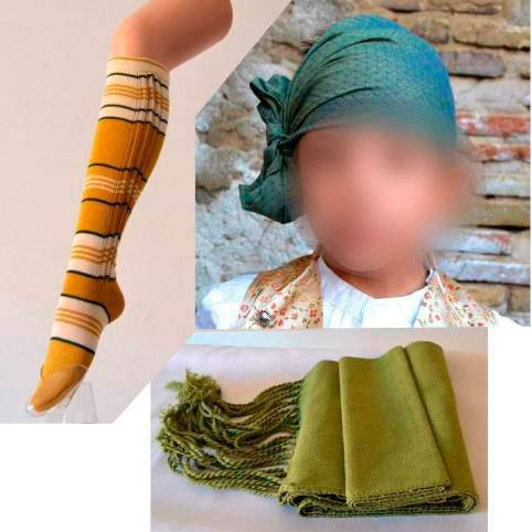 Pañuelo baturro verde, faja y medias para traje regional
