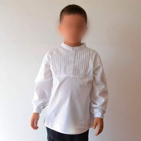 Camisa baturro cuello mao y pechera plisada