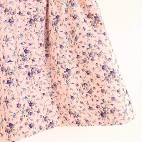 Saya Tradicional Flores Azules Fondo Rosa para traje baturra, traje valenciana y otros trajes regionales