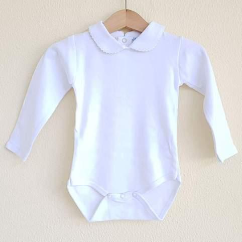 Body blanco liso con manga larga y cuello bebé