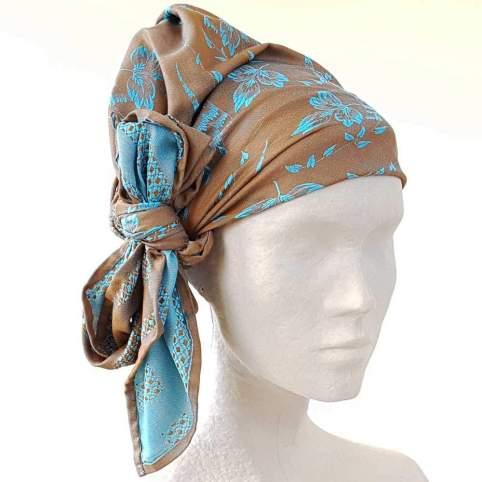 Pañuelo Cabeza Ramas Marrón Azul para Traje Baturro o Valenciano