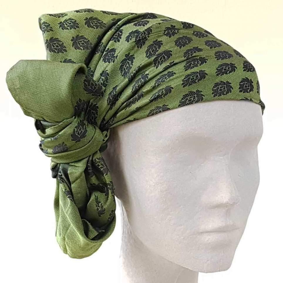 Pañuelo Cabeza Piñas Verde Oscuro para Traje Baturro o Valenciano