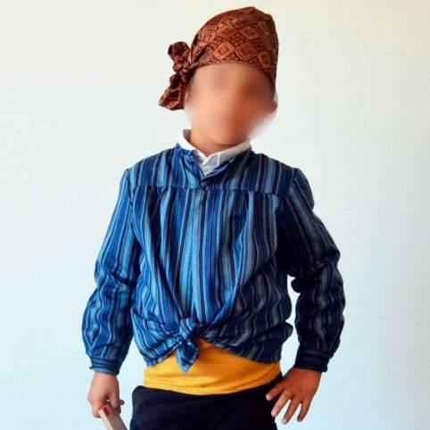 Blusón o tocinera de rayas para traje baturro o regional