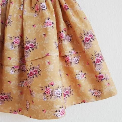 Saya Percal Flores Fondo Mostaza para traje baturra, valenciana, regional... para bebés, niñas y adultas