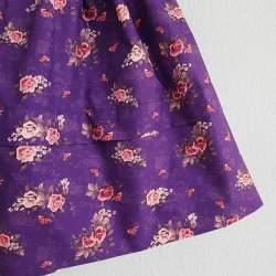Saya Percal Flores Fondo Morado para traje baturra, valenciana, regional... para bebés, niñas y adultas