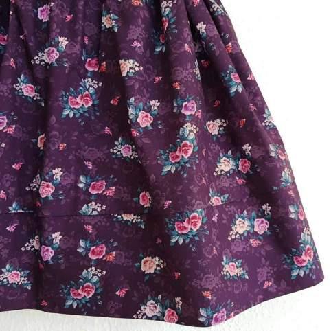 Saya Percal Flores Fondo Marrón para traje baturra, valenciana, regional... para bebés, niñas y adultas