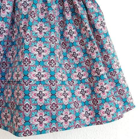 Saya Percal Floral Rosa para traje baturra, valenciana, regional... para bebés, niñas y adultas