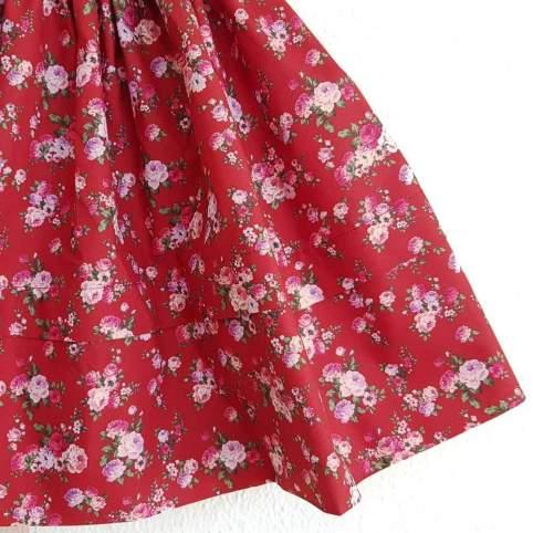 Saya Percal Flores Rojo para traje baturra, valenciana, regional... para bebés, niñas y adultas