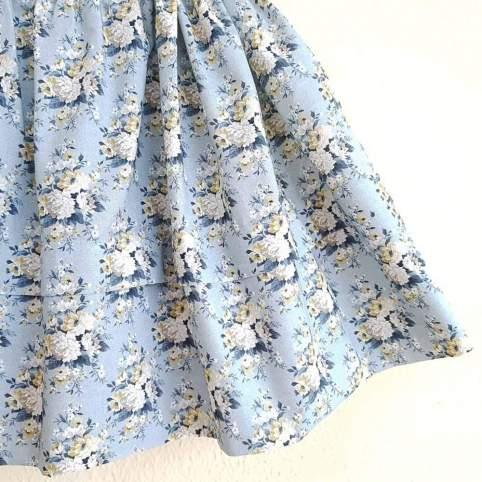 Saya Percal Flores Azul para traje baturra, valenciana, regional... para bebés, niñas y adultas