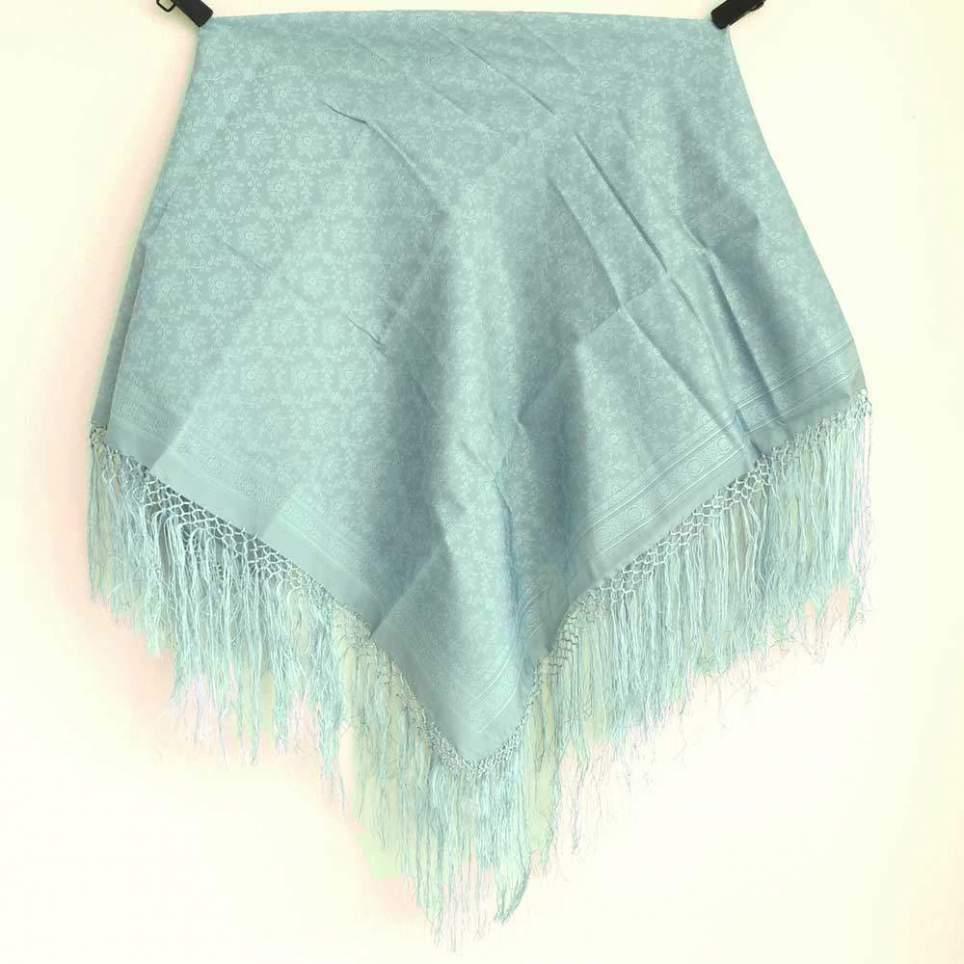 Mantón con Flecos Azul PR173 para traje baturra