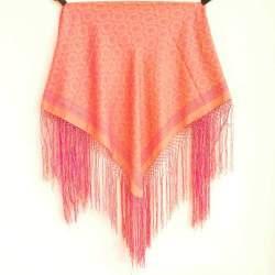 Mantón con Flecos Naranja PR173 para traje baturra
