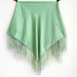 Mantón con Flecos Verde Claro PP3 para traje baturra