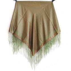 Mantón con Flecos Mostaza y Verde PP3 para traje baturra o regional