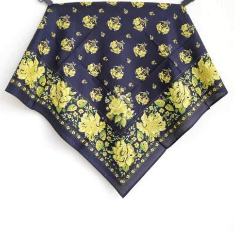Pañuelo Azul Marino y Amarillo Estampado Indiana 5 para traje baturra o regional