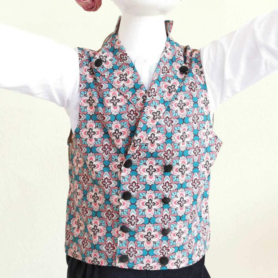 Chaleco Percal Floral Rosa para traje baturro, valenciano, regional... para bebés, niños y adultos