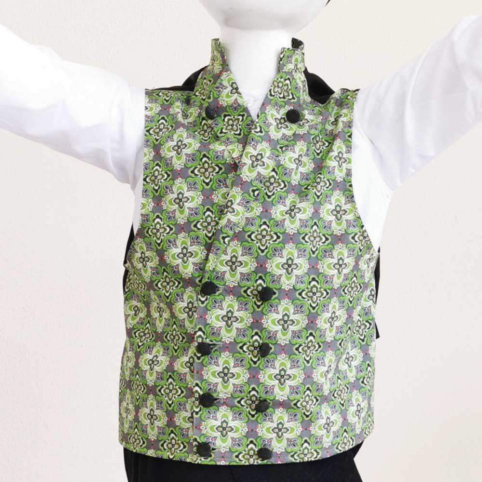 Chaleco Percal Floral Verde para traje baturro o regional para niños y adultos