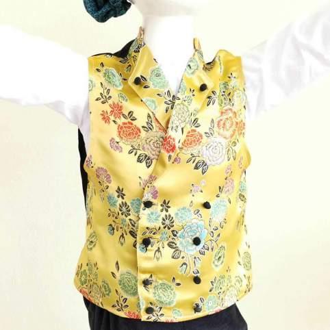 Chaleco Brocado Flores Mostaza para traje baturro o regional