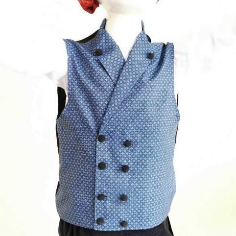 Chaleco para traje baturro de Percal Geo Azul