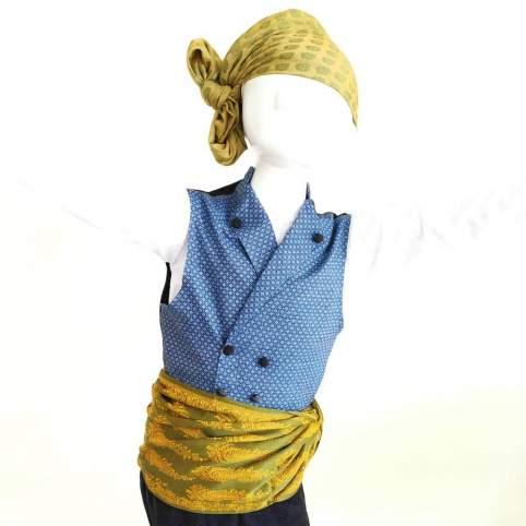 Traje Baturro Chaleco Percal Geo Azul, Pañuelo Piñas Verde y Faja Gala