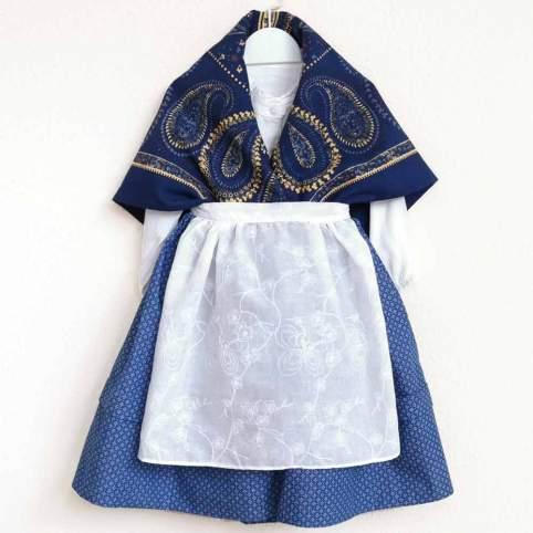 Traje Baturra Saya Geo Azul Y Pañuelo Azul Indiana 4