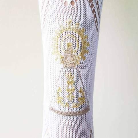 Calcetín traje regional con la Virgen del Pilar bordada para traje baturra