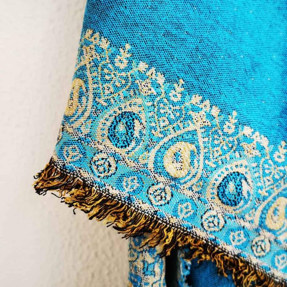 Mantón reversible turquesa para traje de baturra - Baturricos