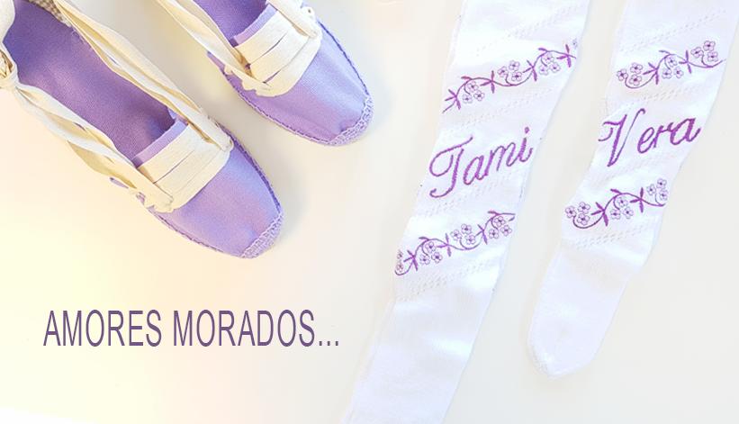 Amores Morados... Alpargatas y medias tradicionales bordadas